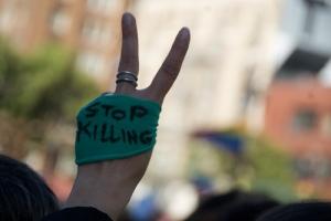 Protest vigil San Francisco: Stop killings, from steve rhodes flickr 6-20-09
