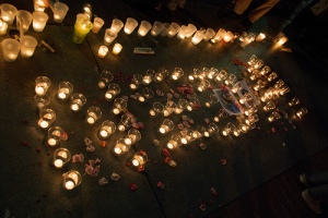 NEDA spelled out in candles at June 21 vigil San Francisco 6-22-09