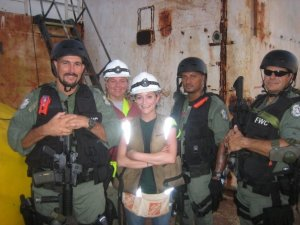 FWC Fish and Wild Life swat team guard the ship overnight -pict from Stacey Loiseaux