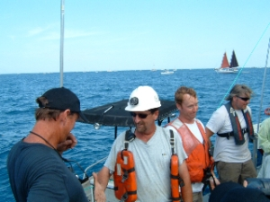 Just Back from Sinking, Gordon Olson, Thom ---, Tim Ferris (making funny face), & protector Tim Ivaine