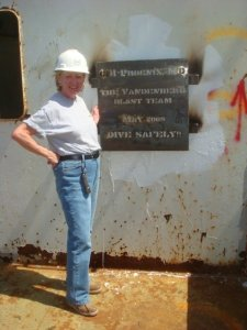 Mom Loizeaux inspects the CDI Plaque - pict by Stacey Loizeaux